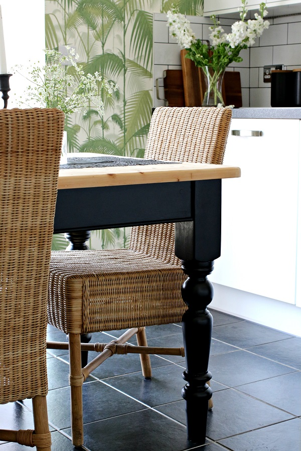 A coat of black paint on my old kitchen table + existing rattan chairs