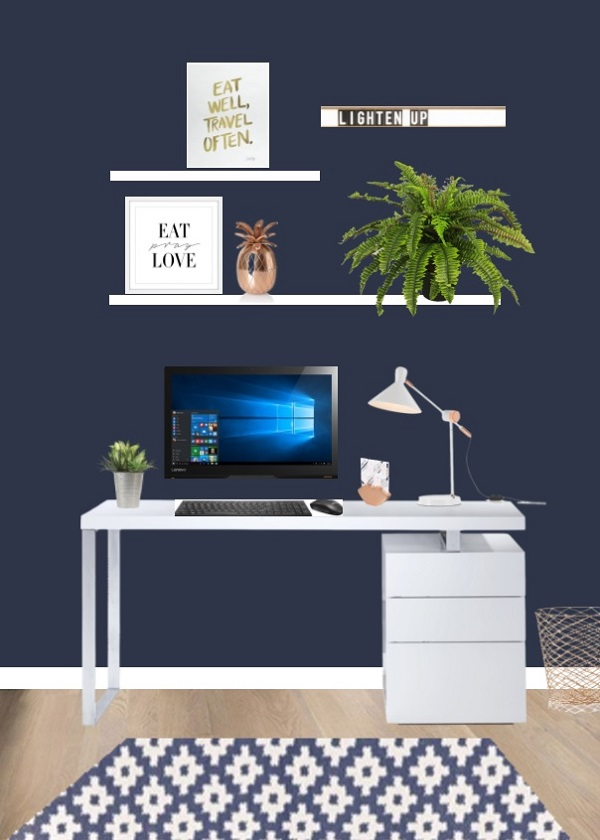 Chic navy and white in the workspace