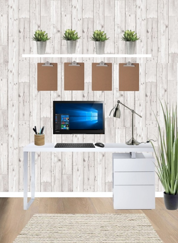 wood effect wallpaper creates an organic scheme in a workspace