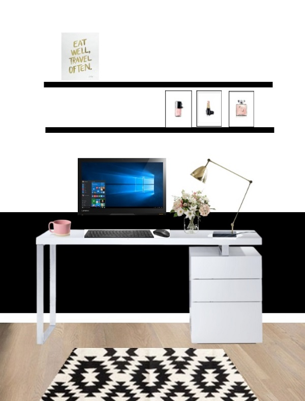 Sophisticated and feminine workspace in black and white with touches of pink