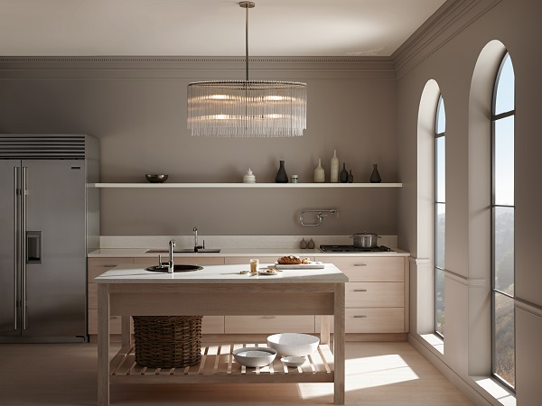 Paint a Kitchen in shades of taupe but hang a statement chandelier for wow factor