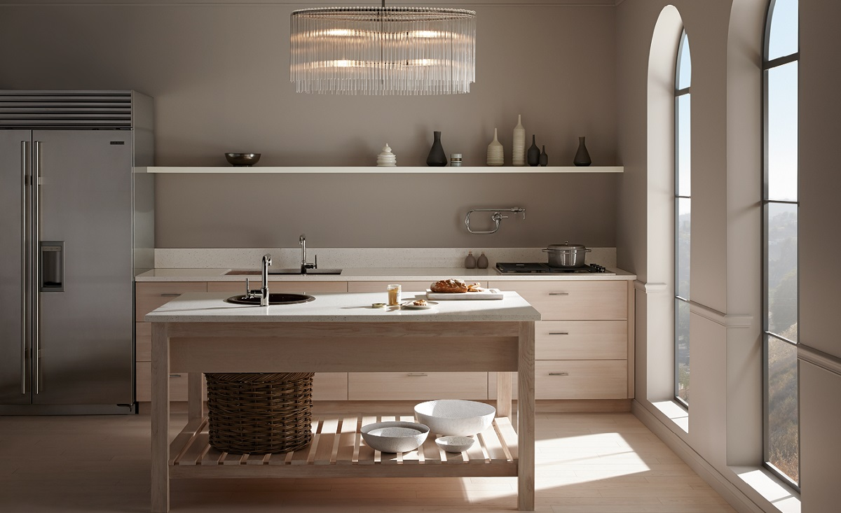 paint a kitchen in shades of taupe but add a big statement light as a focal point