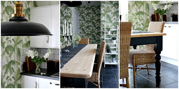 kitchen makeover with palm print wallpaper and black accessories.