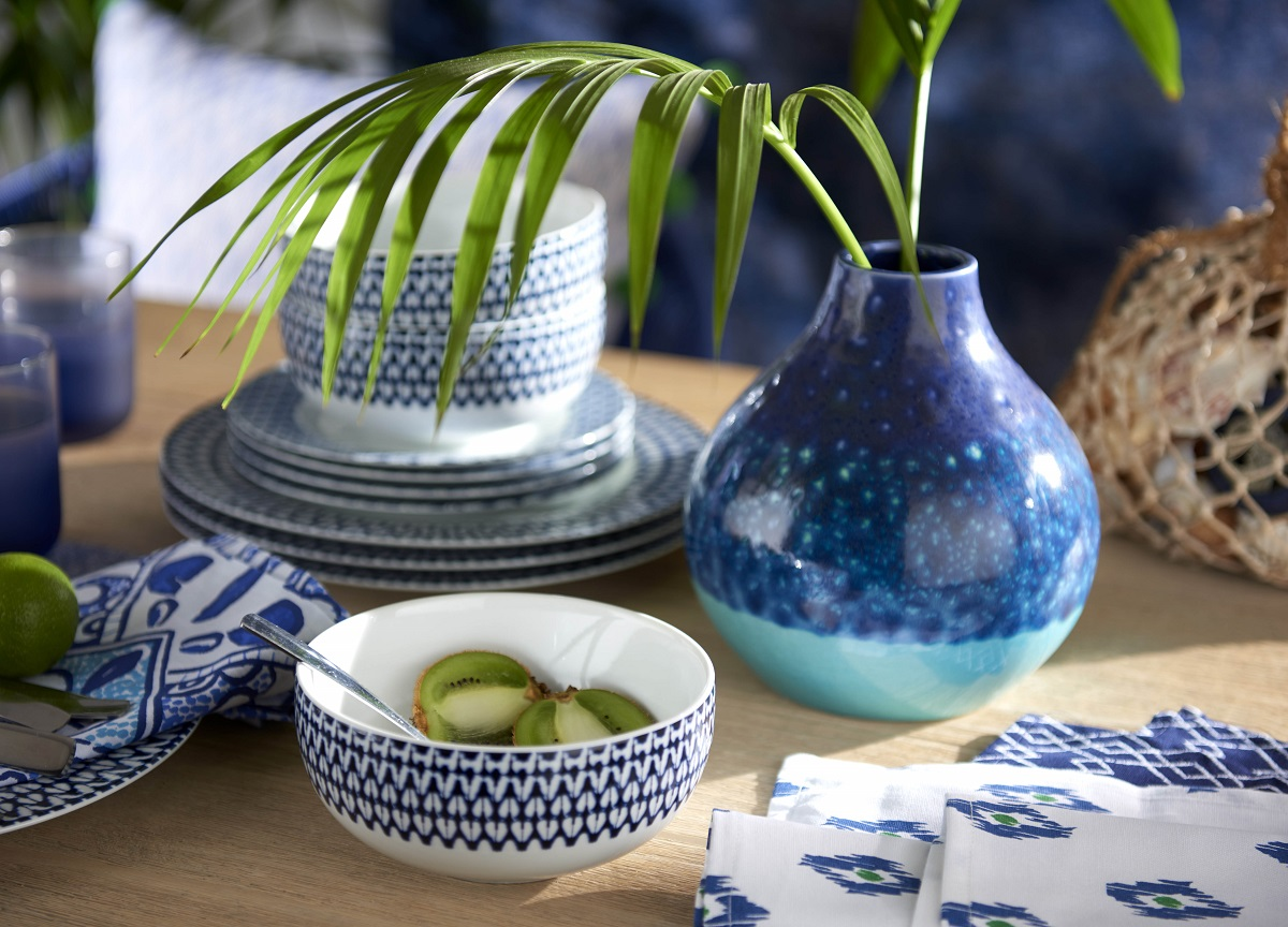 Blue tableware with a hint of Morocco but from the high street