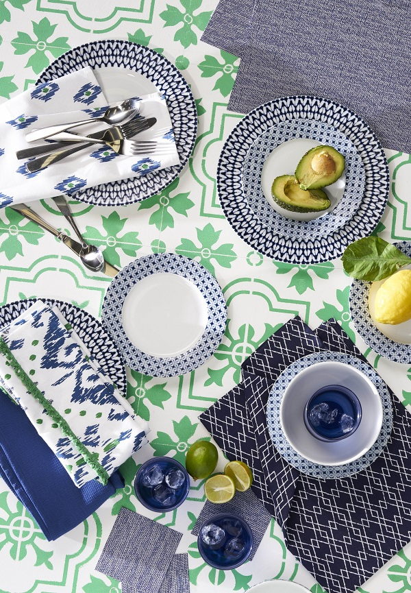 Blue homewares with a hint of Morocco but from the high street
