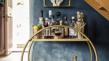 A bar cart (!) in a boho-chic cottage