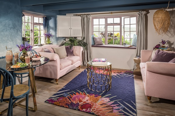 eclectic furnishings in a boho-chic cottage