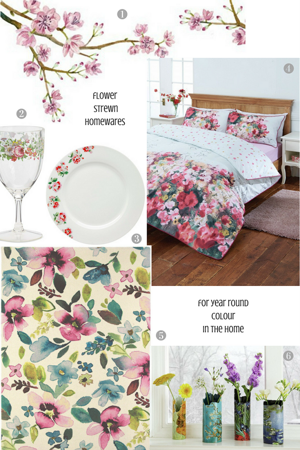 Flower strewn homewares