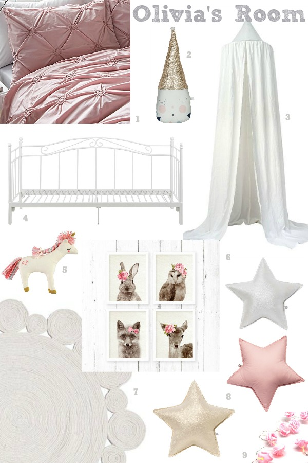 Pink, white, silver and gold for a girls bedroom scheme