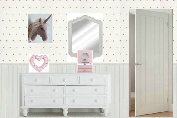 A country cottage scheme for a girls bedroom