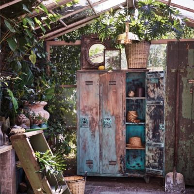 Vintage garden style with a rusted metal locker