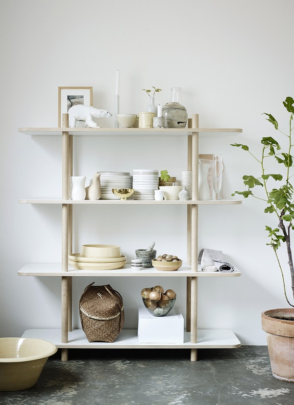 Scandinavian type shelving for the prettiest of tableware in the kitchen or dining room