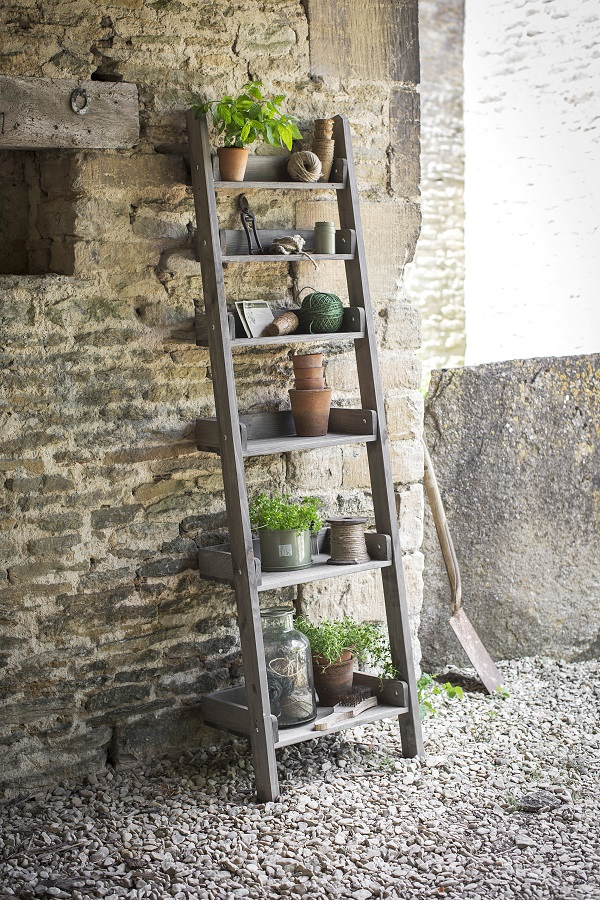 wooden ladder shelf for the potting shed or garden