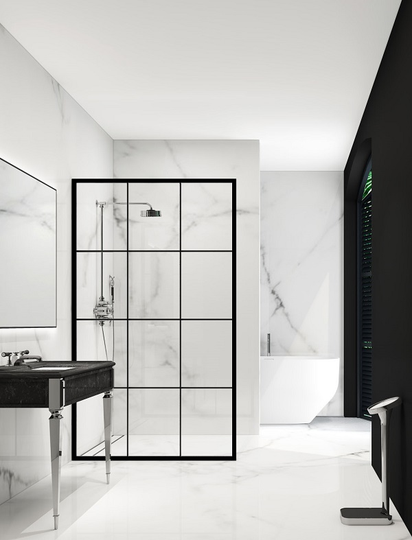 Bathroom trends - metal framed shower screens - Crittall window style