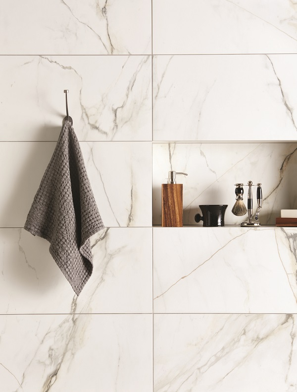 bathroom trends - large scale marble tiles