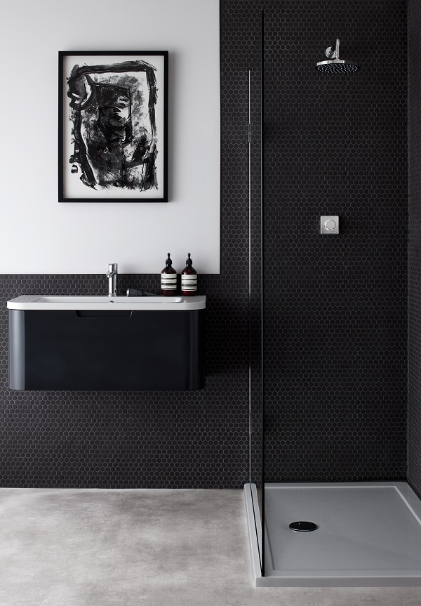 bathroom trends - digital showers, black and white schemes, minimal design