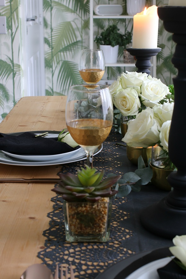 A Black and Gold Table Setting for Summers End