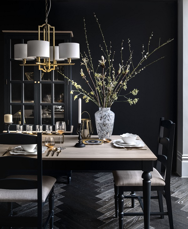 Dark and Dramatic dining room
