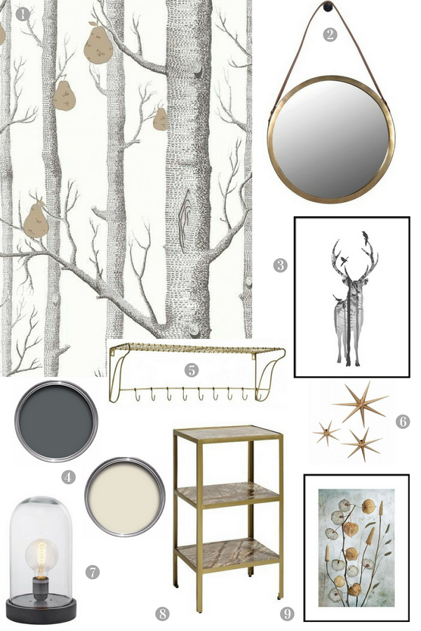 A nature inspired hallway with touches of gold