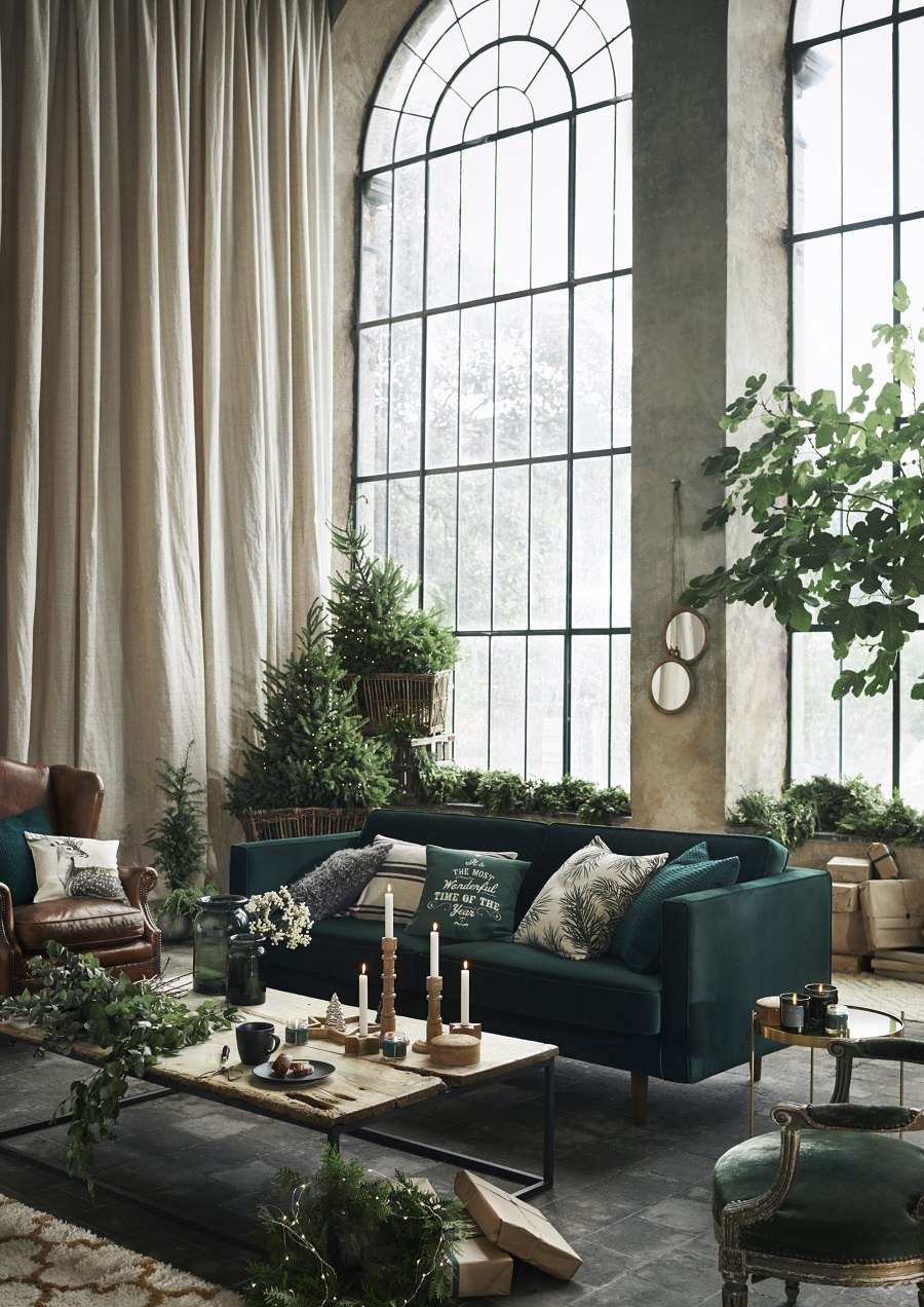 Christmas Styling at H & M Home 2017 - bring the outside in with lots of greenery