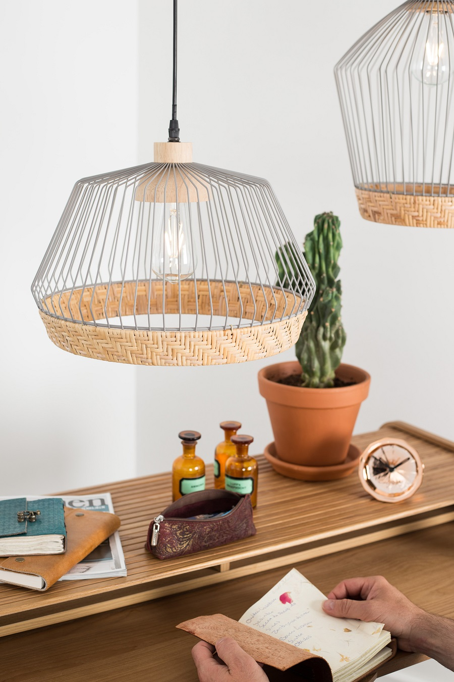 Woven and wire lampshades