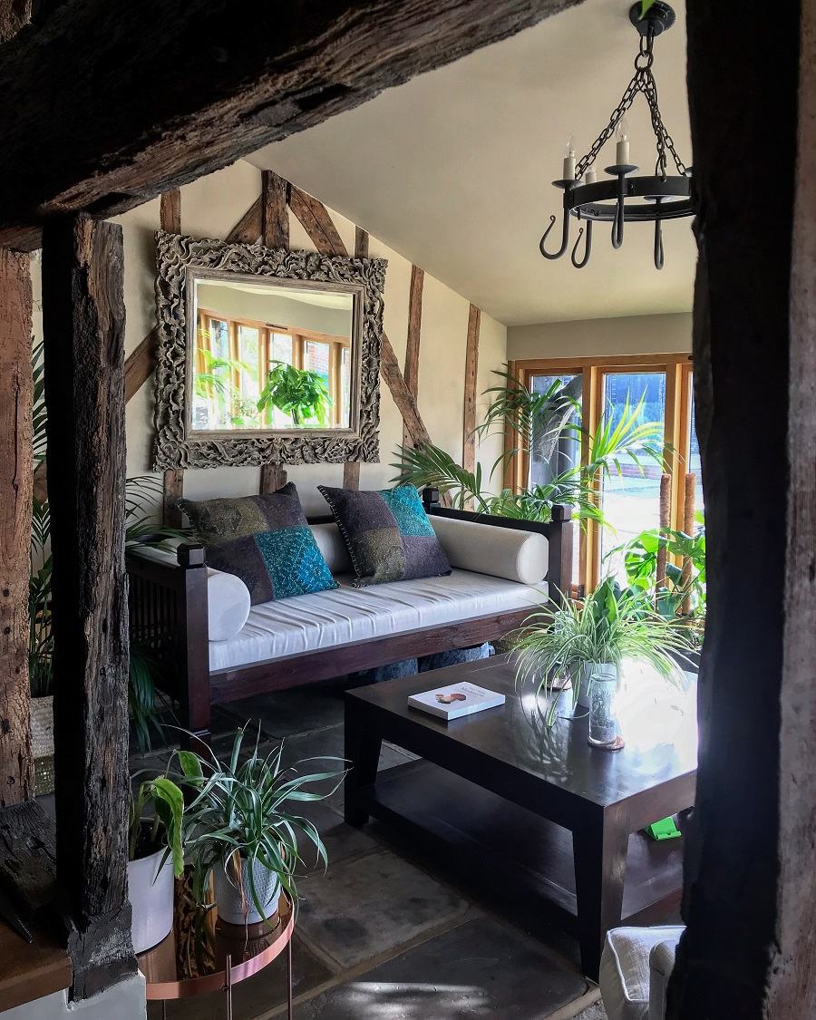 sunroom with a boho vibe