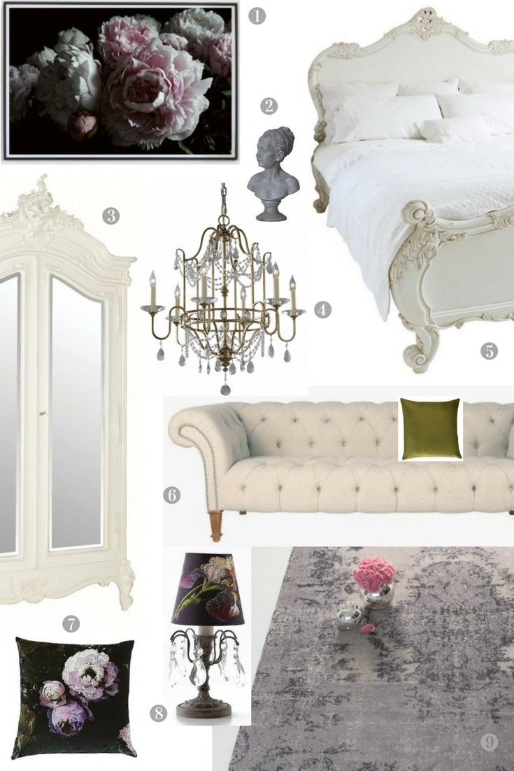 French Chateau style bedroom moodboard