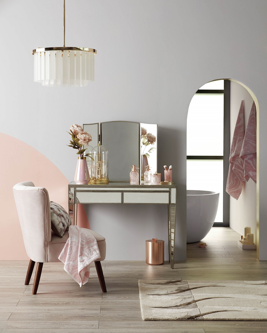 Dressing table goals - mirrored furniture and pink