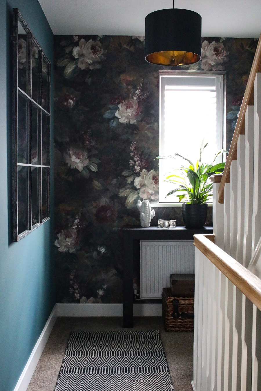 Hall and Stairs - The Final Reveal - moody paper, teal, metallics, black and white accessories