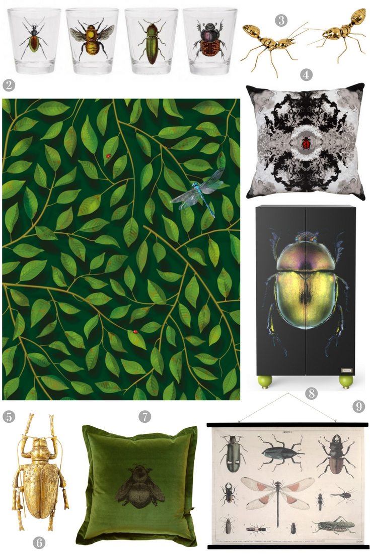 Get The Bug for Some Creepy Crawlies in Your Home on cushions and artwork and even wallpaper