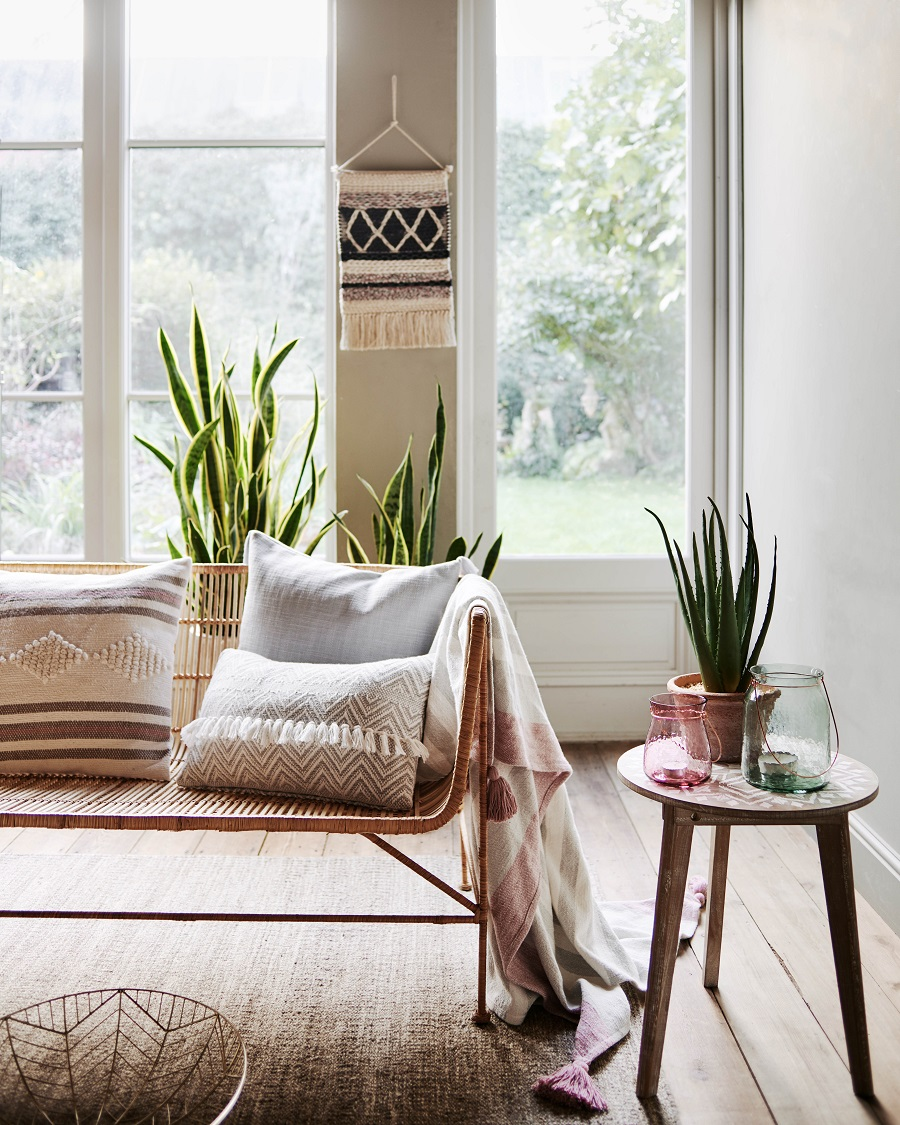 How to Work the Mexican Look incorporating rattan, handcrafted textiles and plants