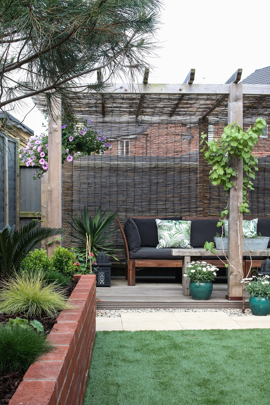 The Landscaped garden - pergola and flowerbed