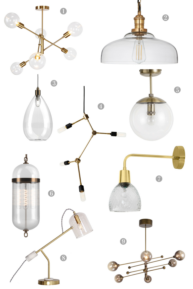 Lighting Fixtures in Brass and Glass
