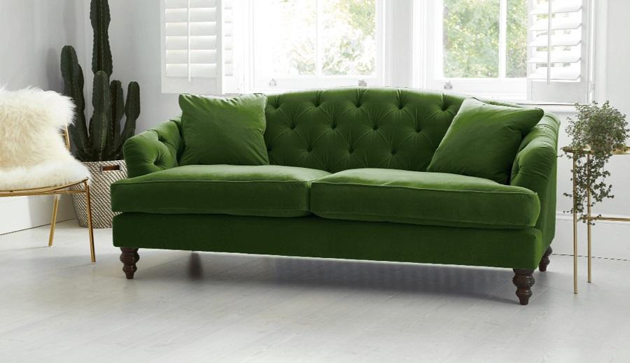Stunning Sofa Design in deep green velvet