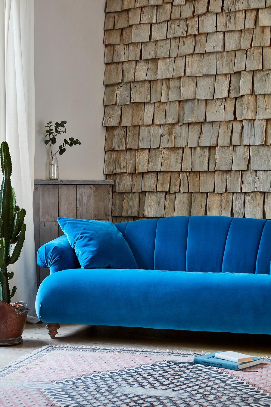 Stunning Sofa Design in blue velvet