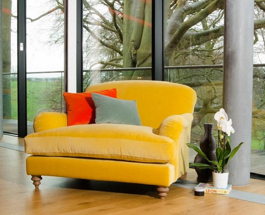 Stunning Sofa Design in canary yellow velvet
