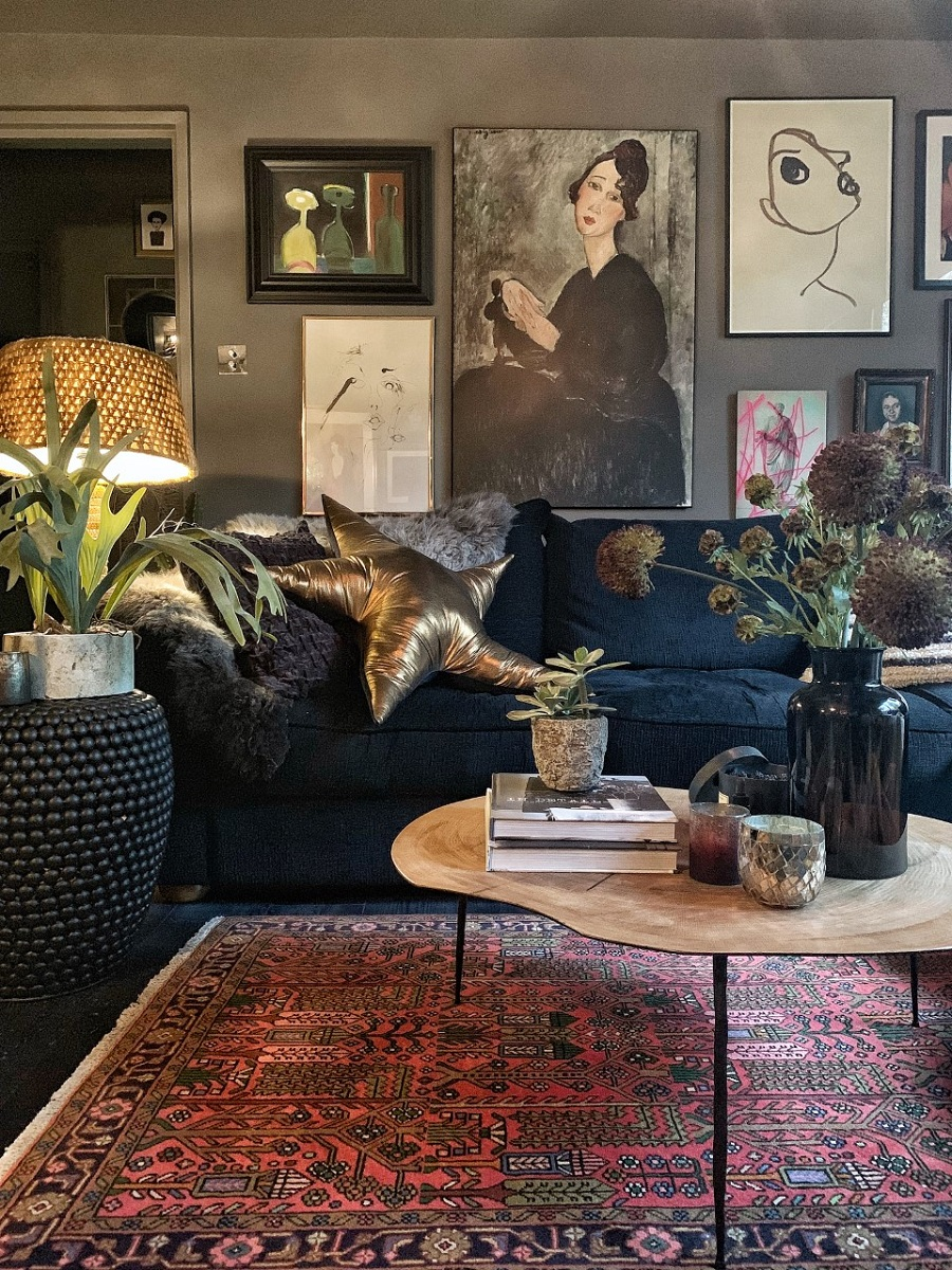 A Inky-Hued Home Full of Stunning Art and Cosy Corners