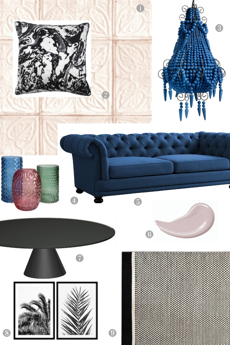 An Elegant Sitting Room in Pink and Blue - Get The Look