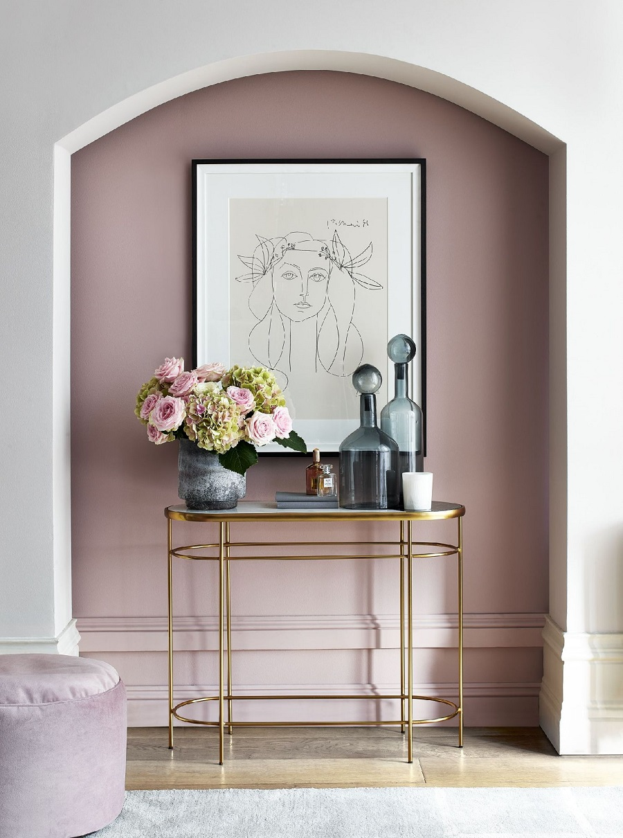 A Glamorous Hallway in Pink and Gold and How to Get The Look