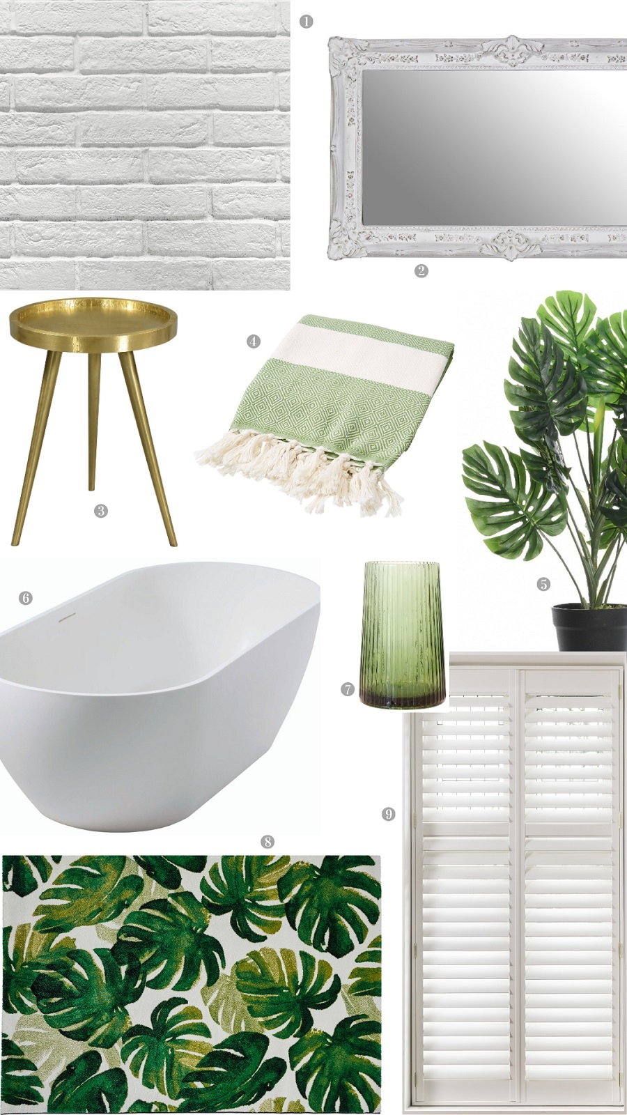 A Modern Country Bathroom With Touches of Leafy Green