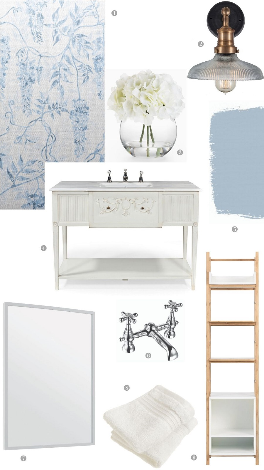 A Fresh Pale Blue Bathroom and How to Get The Look