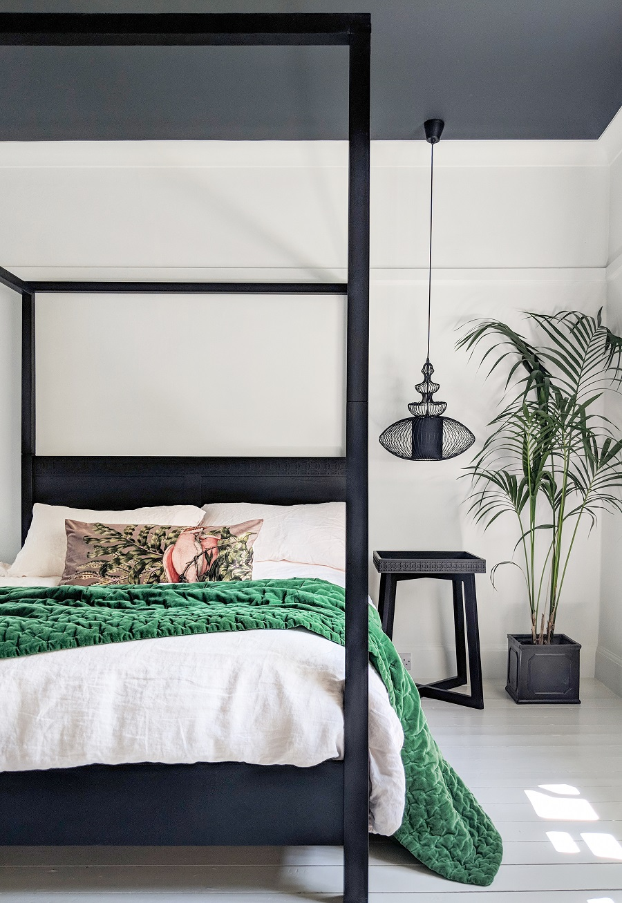 A Stunning Black And White Bedroom With Emerald Green Dear Designer