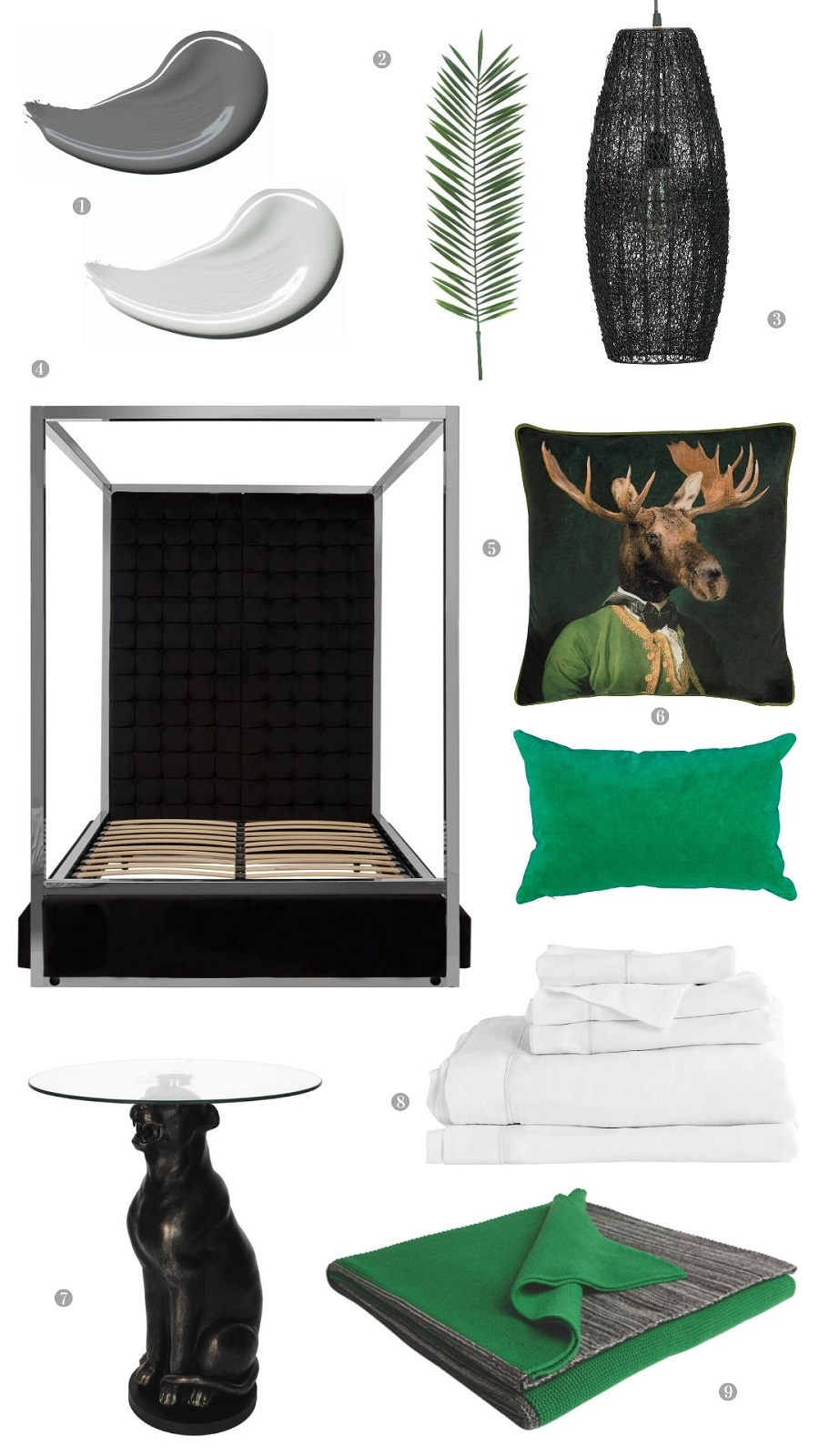 A Stunning Black and White Bedroom With Shots of Emerald Green