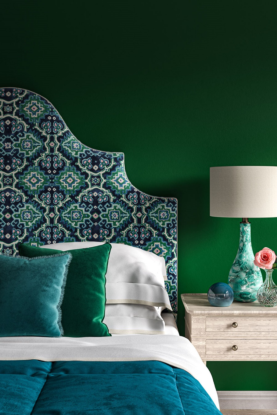 A Striking Bedroom in Green and Teal With a Fabulous Headboard