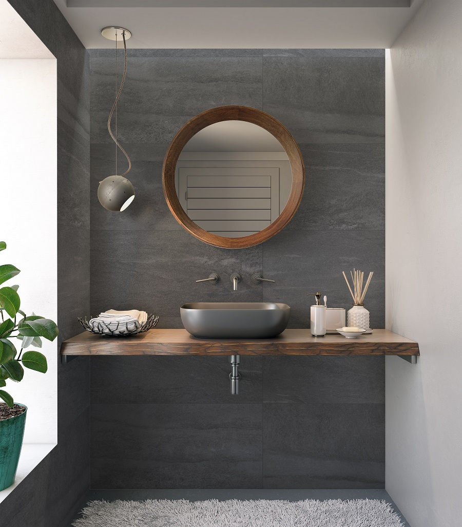 A Chic Grey Bathroom With Accents of Warm Wood - Get The Look