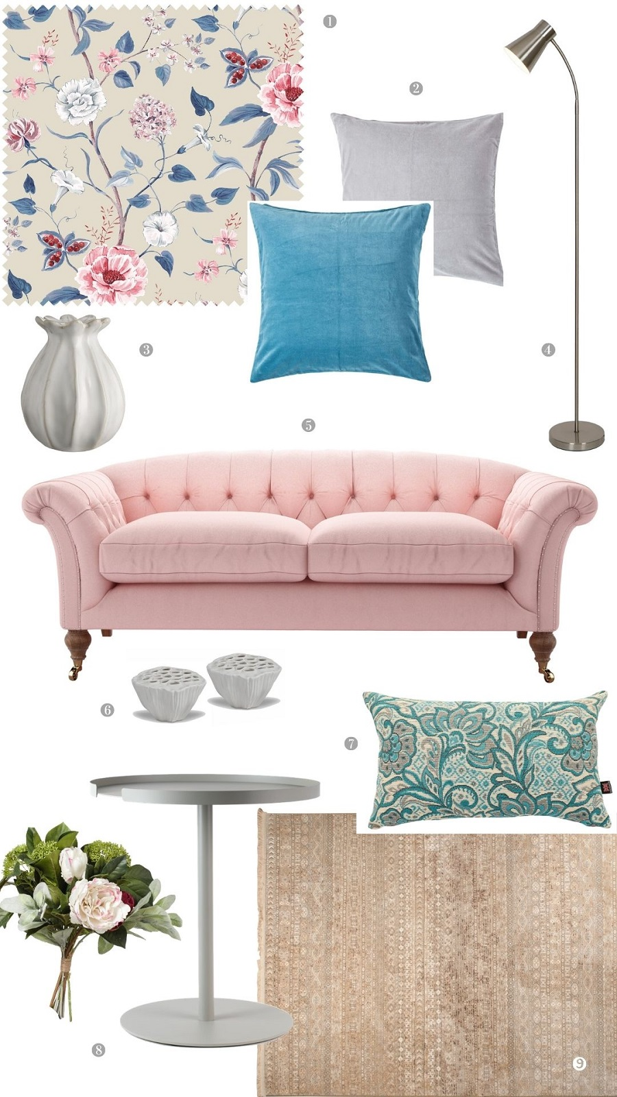 A Pretty Pink Sitting Room and How to Get The Look