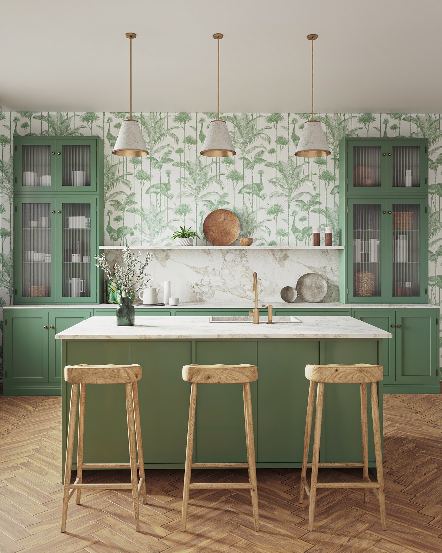 A Fresh Green Kitchen Taken to Another Level With Tropical Inspired Wallpaper