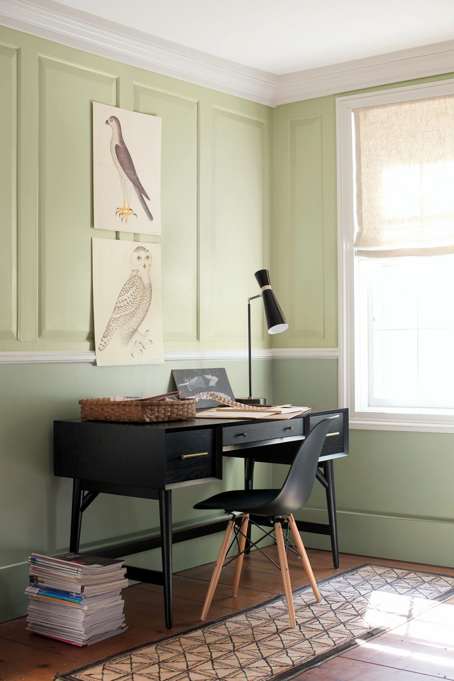 A Fresh Green Workspace with Smart Black Details