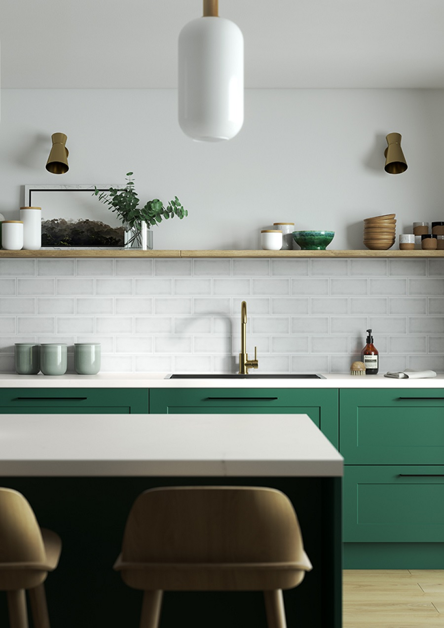 A Minimalist Kitchen in Green and White - Get The Look