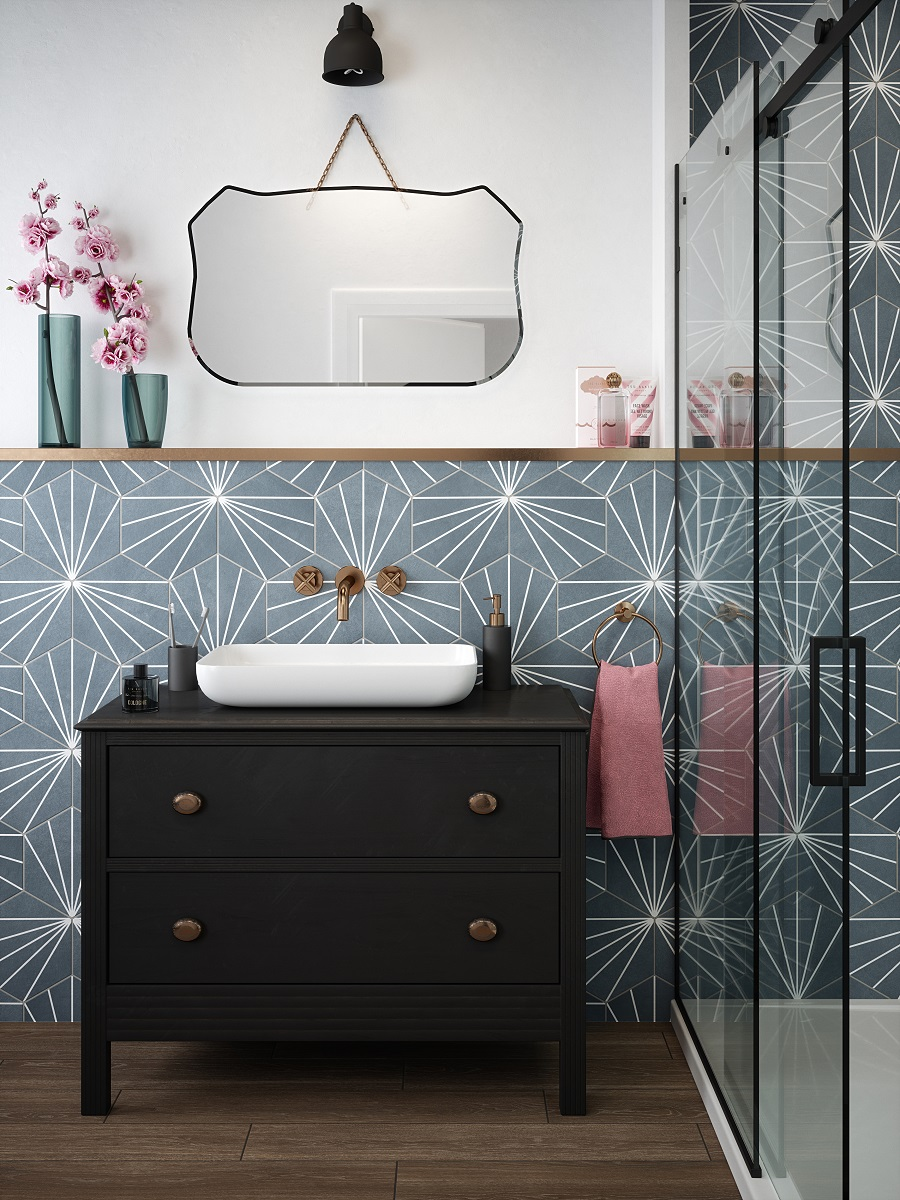 An Eclectic Bathroom Mixes Old and New - Get The Look